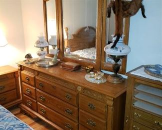 Wonderful Colonial Style Dresser with Three Fold Mirror. On the Right side of the dresser is a wonderful Jewelry Cabinet. Webb is the maker.