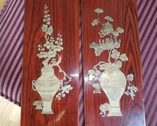 Two Asian Style Wood Art Panels