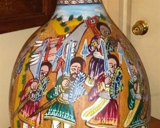 Large hand painted Ethiopian  Gourd Sheba and Soloman meeting 1950's $150
