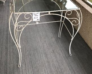 #5 WROUGHT IRON AND GLASS TABLE $25