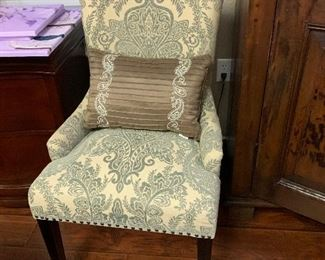 $190 CUSTOM UPHOLSTERED CREAM AND LIGHT TURQUOISE ARM CHAIR ~  $ 325  ( REDUCED PRICE $200) (TWO AVAILABLE )