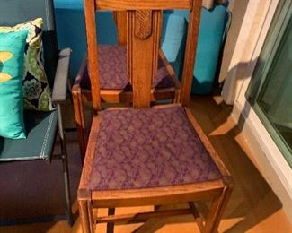 $65 ANTIQUE OAK SIDE CHAIR $65 ( TWO AVAILABLE ) - (REDUCED-$100-PAIR)