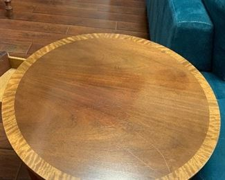 $475 WOW! REMARKABLE AND RARE  BAKER  FURNITURE COMPANY  SOLID MAHOGANY INLAID ROUND TABLE WITH TWO DRAWERS AND TWO SLIDE OUT SHELVES  ~ $625. ( REDUCED $475)