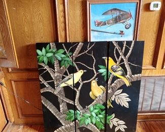 #20 3 panel art exotic birds  From Z Gallery  $75.00