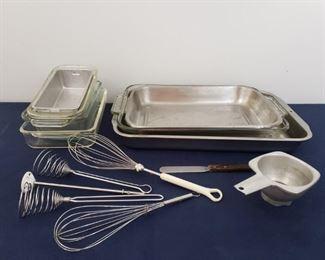 Baking Lot: whisks, pyrex, fireking bread pans, baking pans https://ctbids.com/#!/description/share/364905