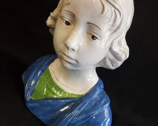 """Andrea della Robbia glazed terracotta Bust of a Young Man (11""""w x 8""""d x 12""""h) - $150 ***Please note:  California sales tax will be charged on all purchases unless you have a valid California resale certificate on file with us.***"""