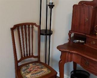 Floor lamp  SOLD;  tole painted  garbage can $30; Vanity $295 Chair $40