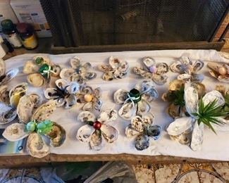 handmade decor made from oyster shells $10 EACH
