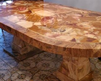 """Solid Onyx Table with onyx bases 358kg= 770 pounds. Very Heavy Solid beautiful $2500.  84"""" long and 47 """" across and the height is 21"""""""