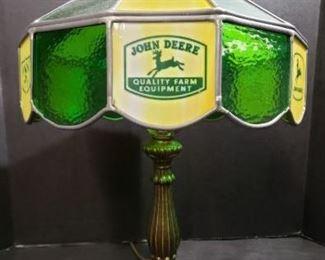 Vintage John Deere Stained Glass Leaded Table Lamp https://ctbids.com/#!/description/share/371931
