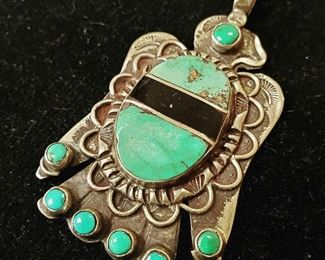 Native American sterling and turquoise pendant - $250