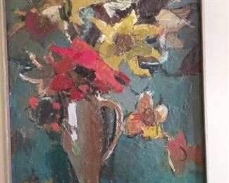 "1904 Signed Oil Floral Still Life Framed Artwork ""F. Mil_""  Frame measures approx. 18 5/8″ wide x 24 5/8″ tall."