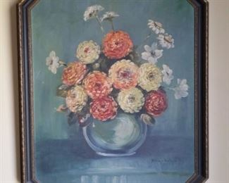 """1924 Signed floral Still Life Framed Artwork """"M. Witers Wintermote""""  Octagonal Frame measures approx. 20 1/4″ wide x 24 3/4″ tall."""
