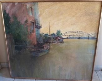 """Large Signed River Scene of Boats, Water, Bridge  Framed Artwork  """"D__ H__""""  Frame measures approx. 46″ wide x 42 1/4 tall""""."""