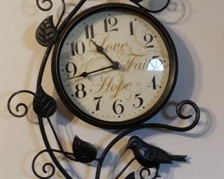 """Charming battery operated Wall Clock with metal birds & vines """"Love, Faith, Hope""""."""