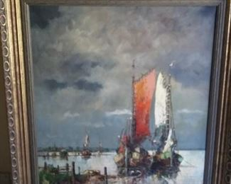 Signed River or Seascape with Boats.  Frame measures approx. 35″ wide x  39 3/4″ tall.