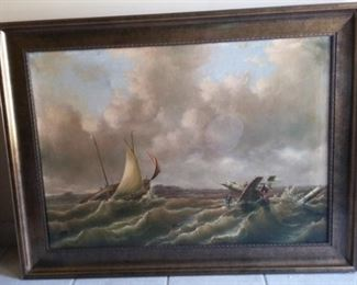 Unsigned very vintage Seascape of attempted rescue of sailors from sinking ship.  Sold As Is with 2 stains.  Frame measures 42 1/2″ wide x 32″ tall.