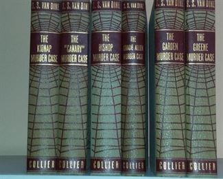 "Philo Vance Book Set by S.S. Van Dine 1920s-30s with Spider Web Art Deco Binding (The Kidnap Murder Case, The ""Canary"" Murder Case, The Bishop Murder Case, The Gracie Allen Murder Case, The Garden Murder Case, The Green Murder Case).  6 Book Set."