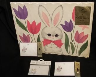 Hallmark Holiday Placemats/Coasters/Place Cards for Easter, Valentines/Romance, Thanksgiving.  Sold as 1 Lot