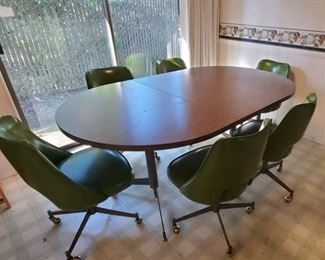 Retro Dining Table and Six Vinyl Swivel Chairs, Olive Green