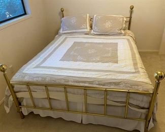 Vintage Brass Queen Size Head and Footboard, Metal Frame, Queen Size Mattress and Box Spring, Bed Set Included