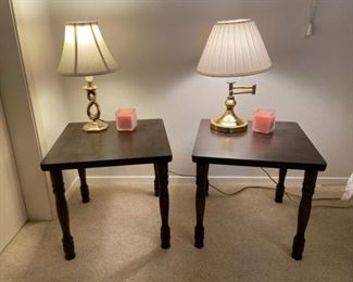 Two Small Matching Wood Bedside Tables w/ Two Lamps and Candles