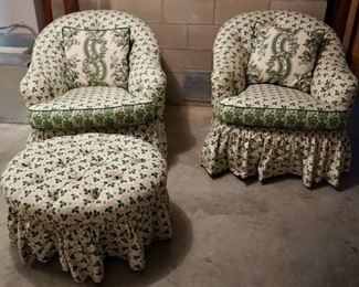 $125 Pair of Clover Leaf Upholstered Chairs & Ottomon