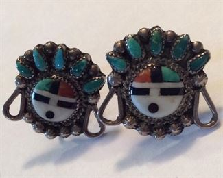 """Old Zuni screw back earrings, marked """"STERLING"""" on post tips, approx 1 in by .75 in and 7.6 grams. $25.00"""