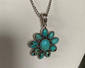 "Lot 113 New - all pieces stamped 925. Sterling Silver 20"" chain with  turquoise pendant and coordinating earrings...$45.00"