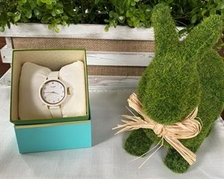 Lot 001 New with tags...Kate Spade watch with large white and gold face with rubber band $58