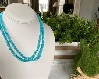 "Lot 004 Double strand turquoise 18"" necklace with Sterling Silver clasp...$38.00"