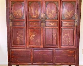 Item 46: Red Asian Cabinet with hand painted figures, 20dx52wx70tall: There are some condition issues that do NOT affect the structural integrity or beauty of this item - priced AS IS: $400