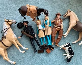 Mego Jane West and friends. $175 -cow is there just to keep the horses company. Does not belong originally.