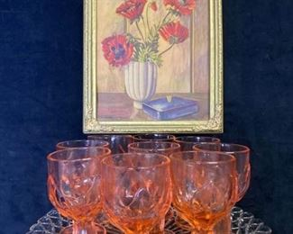 073m Pink Glass  Poppies