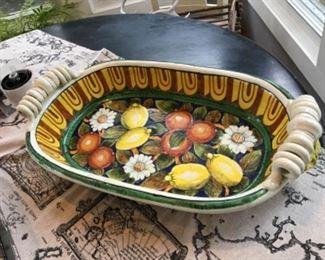 Vintage Italian heavy handmade and hand painted platter LEONCINI ART. Extra large pottery   $55  shipping for this item based on buyers location