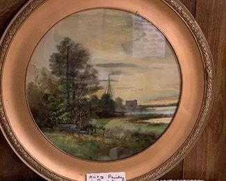Hand Painted Landscape of Grand Isle in nice round frame, $45. NOW 50% OFF - NEW PRICE $22.50! Use contact button below for purchase with local pickup