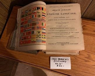 1886 Webster's Dictionary, $20. NOW 50% OFF - NEW PRICE $10.00! Detached cover. Use contact button below for purchase with local pickup