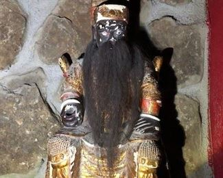 Antique Chinese temple statue with real hair