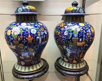 Beautiful matched pair of signed geometric cloisonne vases on bases