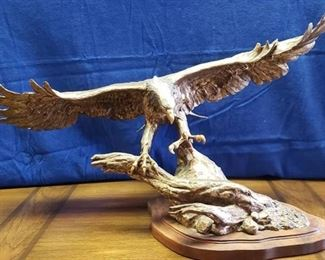 Wings of Freedom ~ Soaring Eagle Bronze w/Silver Head and Tail Feathers ~ Sandy Scott ~ Wing Span: 39 in. ~ Height: 22 in. Tall ~ Depth: 24 in. Front to Rear ~ Valued over $2700