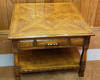 Romweber Viking Oak Furniture ~ Single Drawer Side Table ~ Carved Oak Trim ~ 30 in. x 30 in. x 22 in.