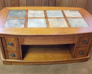 Ashley Furniture Plank Park Oval Lift Top ~ 8 pieces of Slate Tile on Top ~ Model: T463-9 ~ 49 in. x 28 in. x 19 1/2 in. (28 1/2 in. UP)