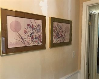 """Pair of Asian inspired wildlife pictures  $60.00  20"""" x 16"""""""