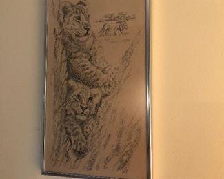 """Lion cub picture set (2)  $60.00  17"""" x 9.5"""""""