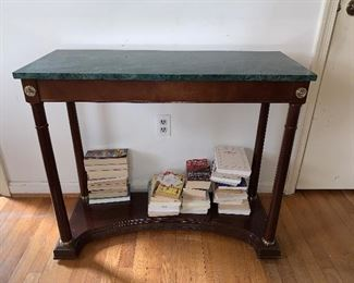 "Bombay Company marble top console table. Condition good.  Dimensions 35""L x 30""H x 14""W  Price $95"