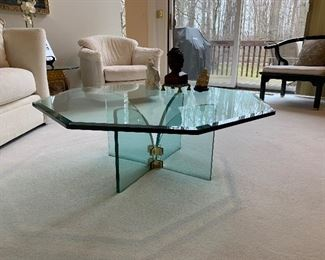 """Mid Century Modern Pace hexagonal glass cocktail table (41.5""""W x 14.5""""T) - $750 or best offer."""