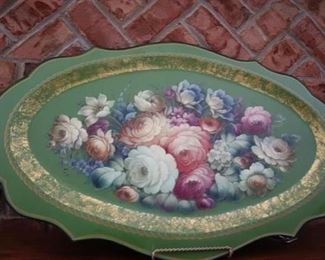 "$275.00  Metal hand painted tray 31"" x 19"""