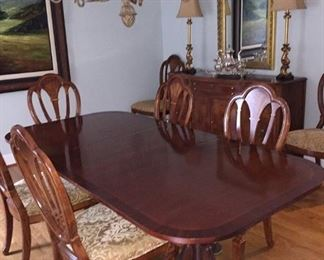 Duncan Phyfe Table & 8 Chairs: $1200