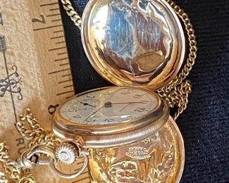 """gorgeous pocket watch - Waltham - stamped """"Warranted 14k to assay - e.w.c.c.c. - 6439519 - Jim to Mabel Dec. 25, 1911 - weighs 44 grams with the chain  $1200"""