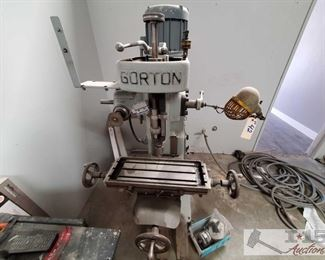 """Gorton Verticle Mill Gorton Verticle Mill, Serial# 28093, Model# 0-16A, 24""""x 9"""" Table W/ Work Lamp, 3 Phase, 220 Volts, 5.8 Amps, Overall Size is Approximately 45""""x 55""""x 69"""""""